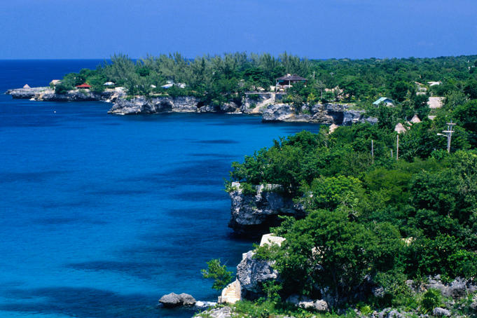 The beautiful Negril coastline with its rugged cliffs.