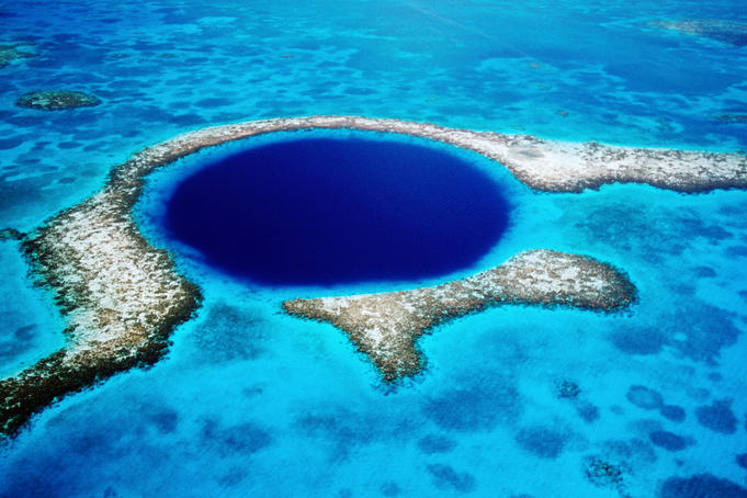 Aerial of Blue Hole.