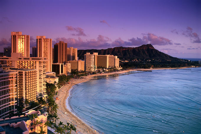 Diamond Head and Waikiki at Twilight.