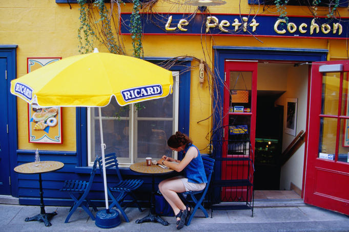 Le Petit Cochon coffee shop on Place Royale in Quebec.