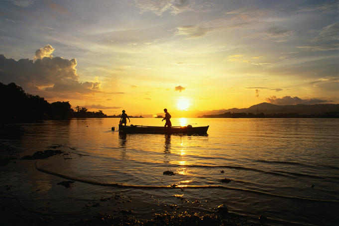 Fishing off Ambon at sunset.