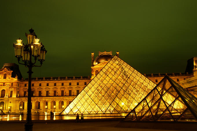 The Louvre: The Pyramid and Pavillon Richelieu at night - Paris, Region Parisienne