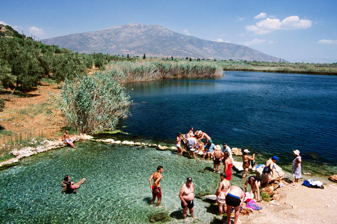 Moustos Lake therapeutic baths on Astros to Agios Andreas road.