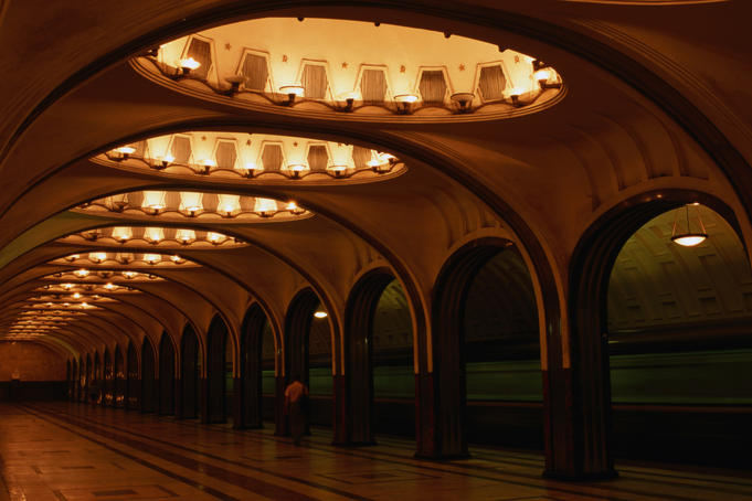 Central Hall of Moscow's Mayakovskaya Metro station. The Grand prize winner at the 1938 world's Fair in New York.