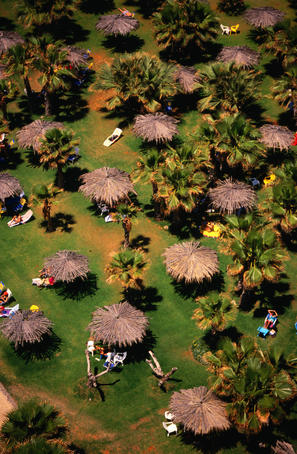Aerial of grass, thatched unbrellas, palm trees and people taking it easy at the beach on the Mediterranean Sea.