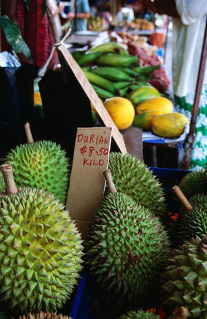 Durian and other tropical fruits abound at Rusty's Bazaar in Cairns.