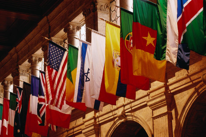 Flags on Publishing Society Building in the Christian Science Building.