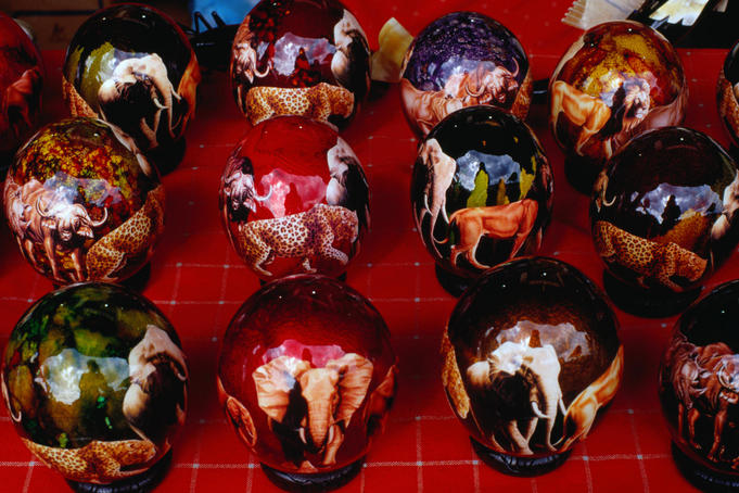 Craft for sale: painted Ostrich Eggs at a souvenir stall at Bruma Market World
