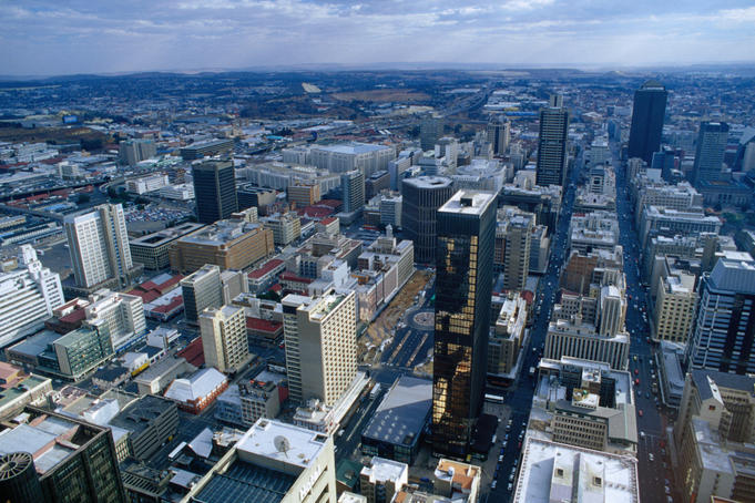 An aerial view of central Johannesburg from the Carlton Centre