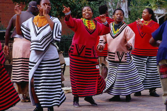Dancers in traditional dress at Gold Reef City.