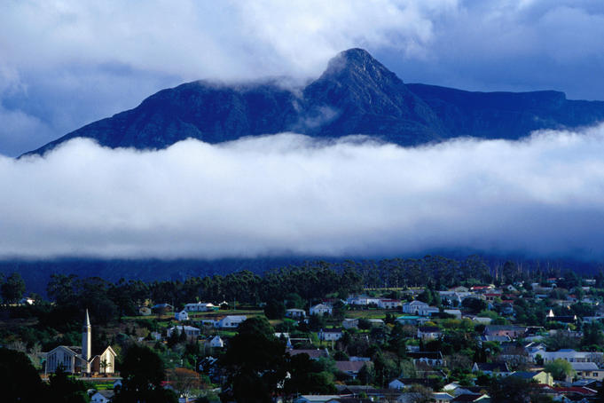 The town of Swellendam and the Langeberg Mountains (or Long Mountains)