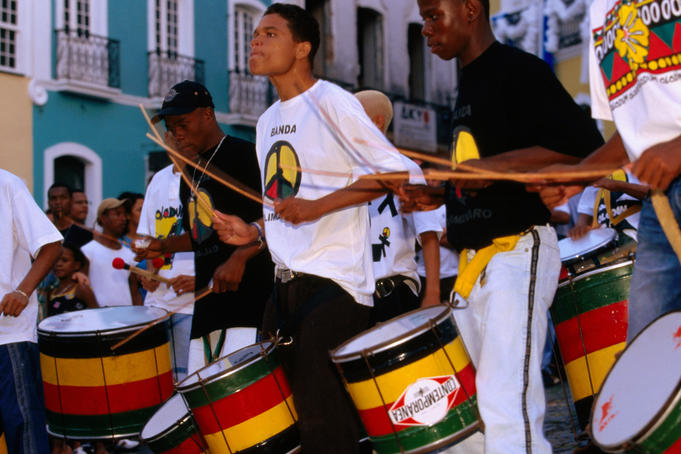 Drum group performing at Largo de Pelourinho, Salvador