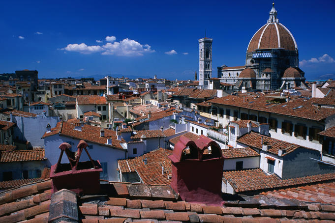 Rooftops and Il Duomo in distance.