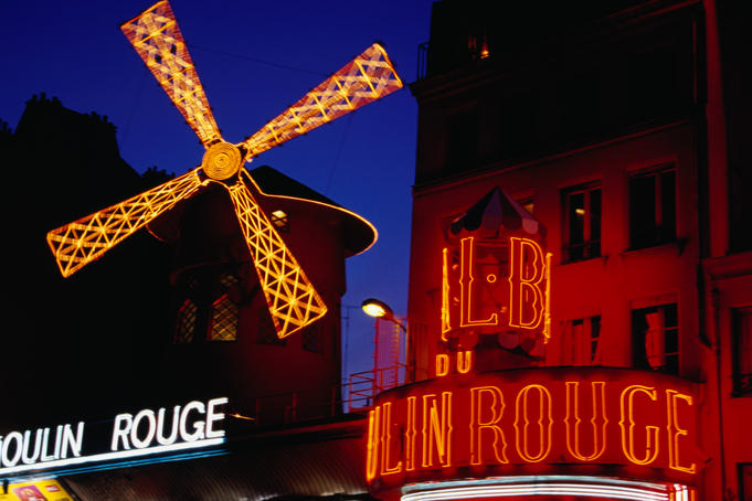 Sign of Moulin Rouge at Montmarte.