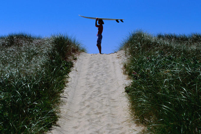 Surfer carrying board on dunes at Long Point.