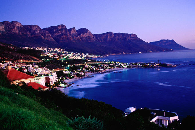 Overhead of Clifton, Camps Bay with Twelve Apostles in background.