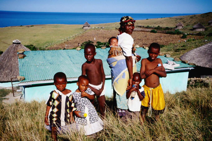 Woman with her children near Coffee Bay.