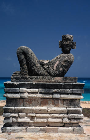 Ceremonial statue of Chac Mool.