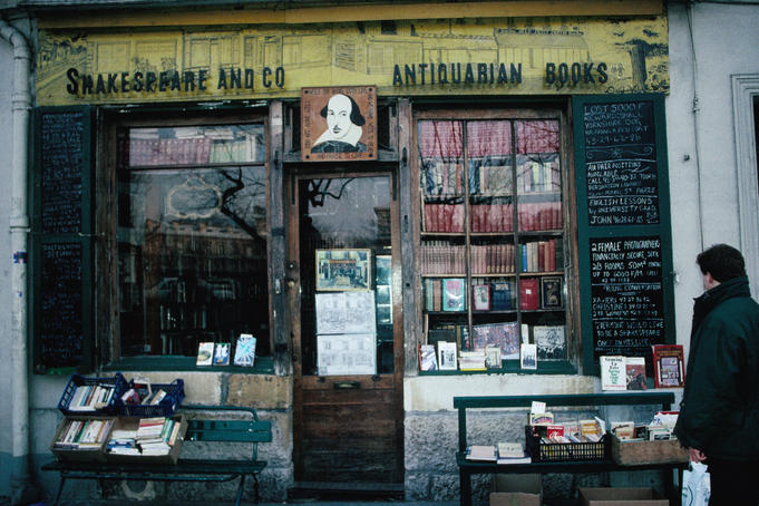 Exterior of Shakespeare and Co bookshop.
