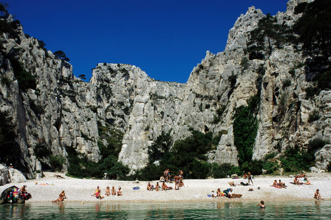 People on beach at Les Calanques near Cassis.