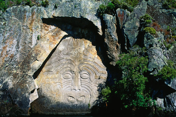 Maori carving of Ngatoro-I-Rangi, Tohunga ( High Priest ) of the Arawa People - Taupo, North Island