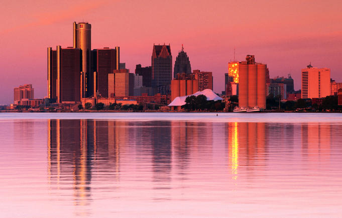 Skyline at sunset, viewed from Belle Isle Park, Detroit River.