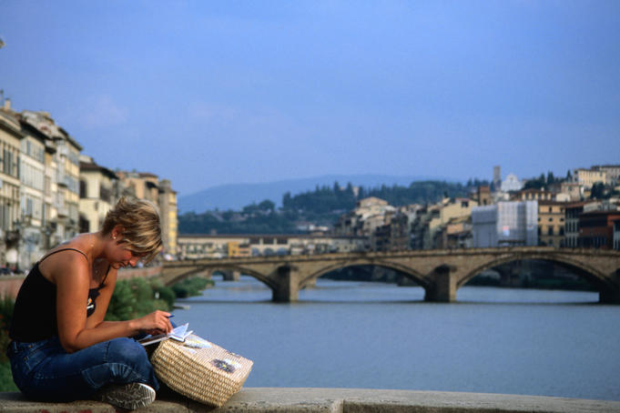 Reading on the Arno river.