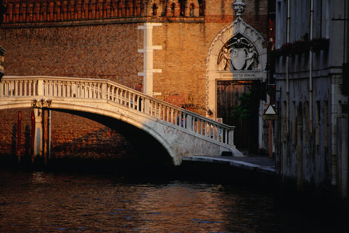 The delicate bridge crossing Rio Ca'Foscari looking east to Ca'Foscari, Dorsoduro.