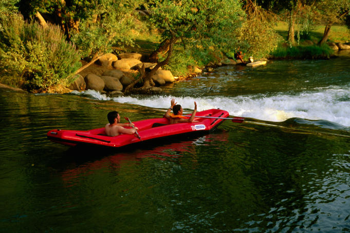 Rafting down Jordan River.