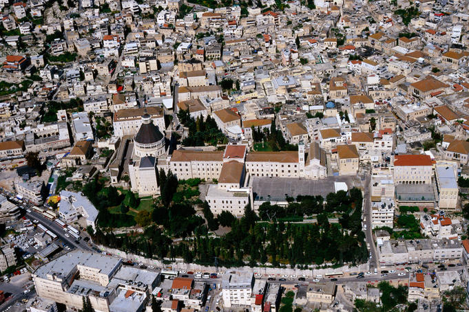 Aerial of Church of Annunciation and surrounding buildings.