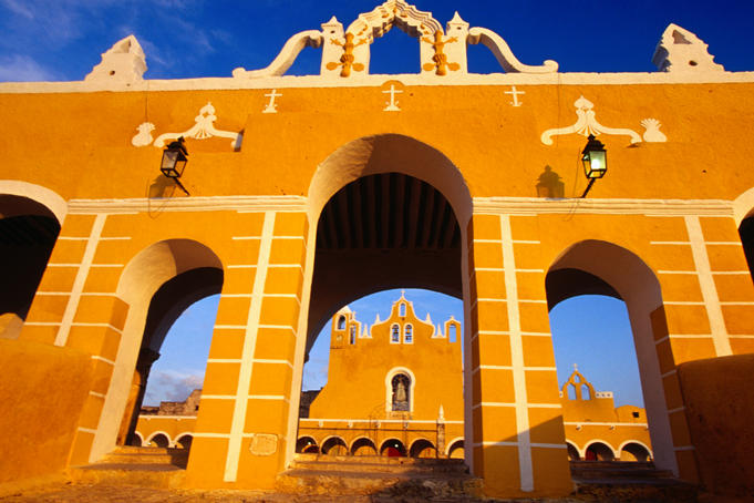 Santuario de la Virgen de Izamal of the Franciscan Monastery, Convento de San Antonio de Padua. The monastery is built from stones of the Ppapp-Hol-Chac pyramid (c. 15612-2002).