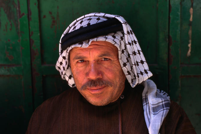 An Arab gentleman with traditional &quot;kufeyyas&quot; in the Old City of Jerusalem