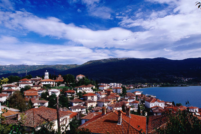 Town next to Ohrid Lake.