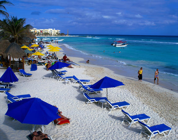The beach, Playa del Carmen, Yucatan.