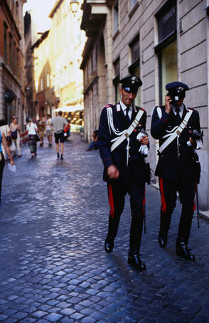 Rome police in full uniform.