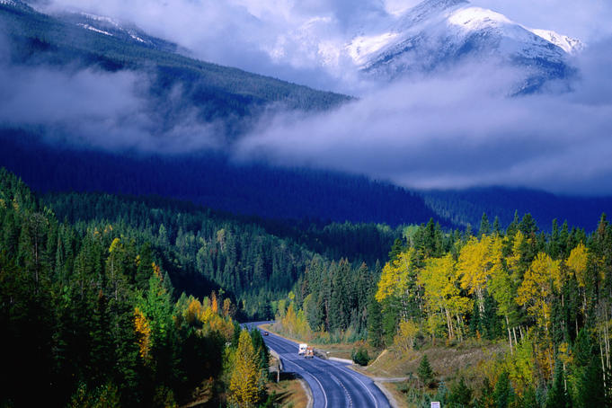 Yellowhead Highway, Mt Robson Provincial Park, Rocky Mountains.