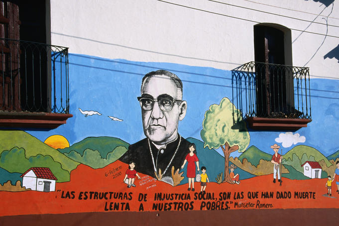 Mural immortalising Archbishop Oscar Romero in Suchitoto (martyr to the poor of El Salvador).
