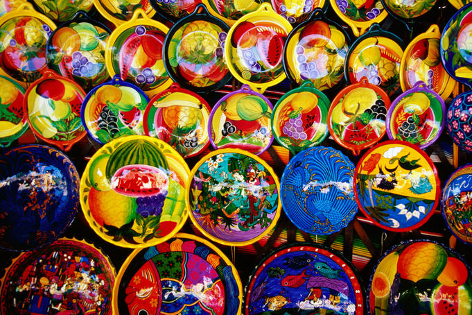 Colourful crafts on display.