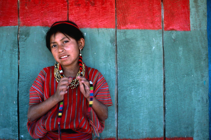 Young girl from San Antonio Palopo in traditional dress.