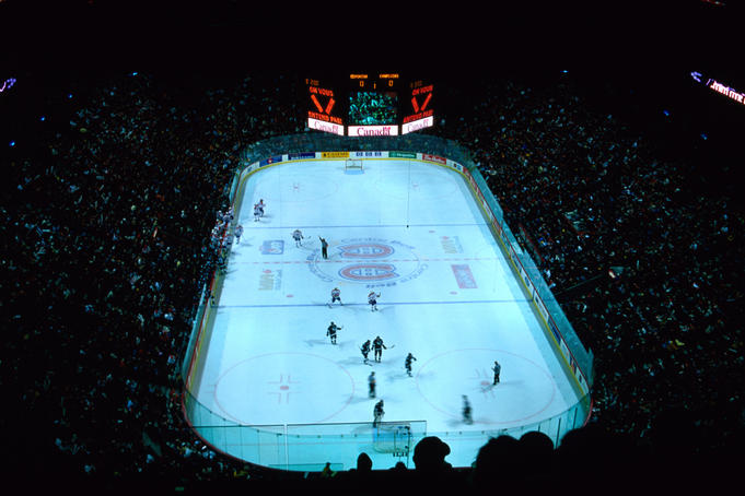 "The Edmonton ""Oilers"" take on the Montreal ""Canadiens"" in a game of ice hockey in the Bell Centre stadium."