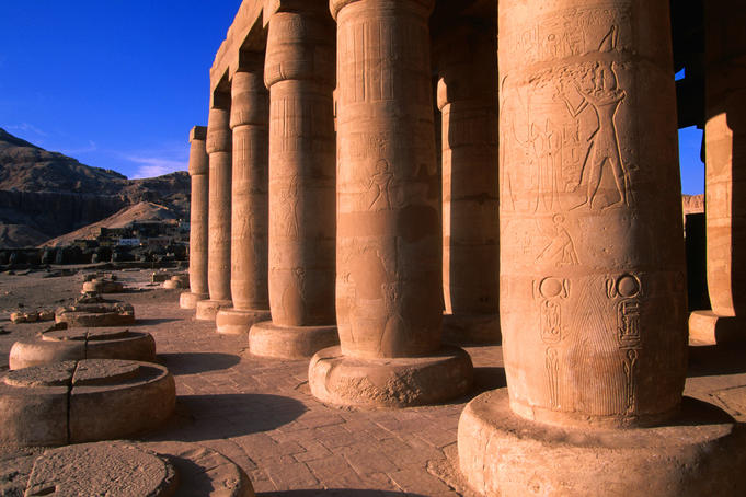 Columns at 13th century BC Ramses III Great Hypostle Hall.