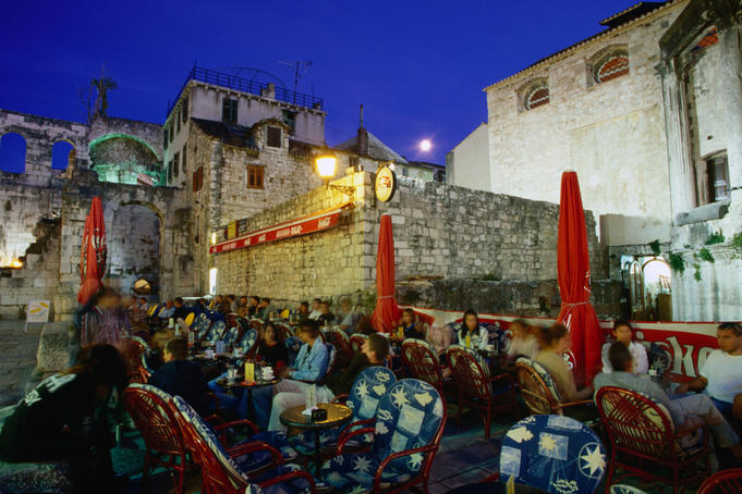 Outdoor cafe in Decumanus at Diocletian's Palace.