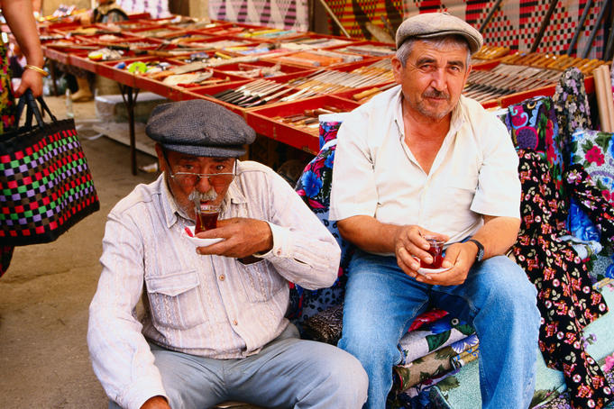 Men drinking tea at a market, South Aegean region - Milas