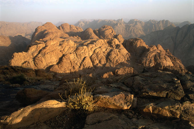 Morning light on mountains flanking Mt Sinai.