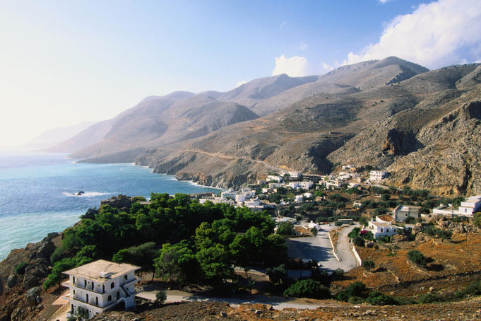 Overlooking a small town on the South Coast - Hora Skafion, Hania Province, Crete