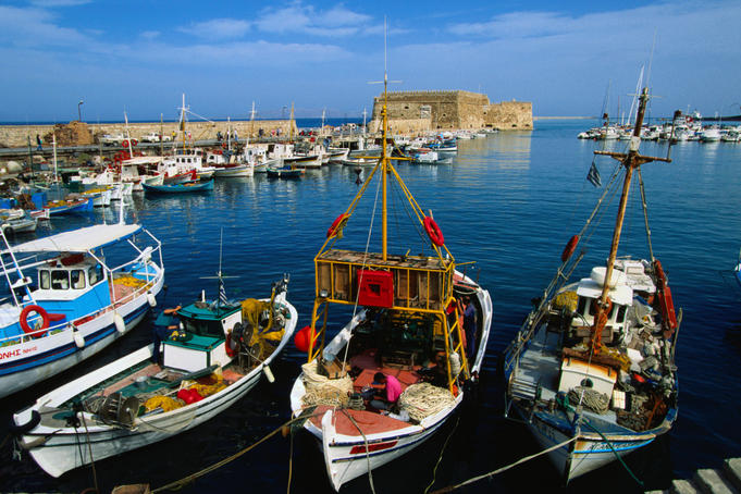 Fishing boats moored in the harbour - Iraklio, Iraklio Province, Crete