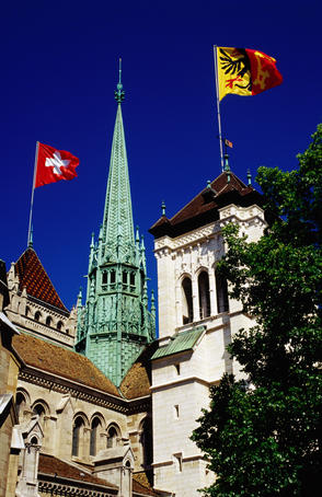 Swiss with Geneva canton flags at St Peter's Cathedral.