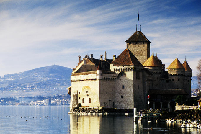 Chateau de Chillon on Lake Geneva (Lac Leman).