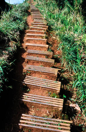 Steps, made from old radiators, on trail to Salto del Caburni.
