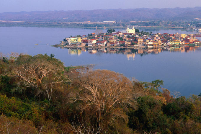 City on island, Lago de Peten Itza.